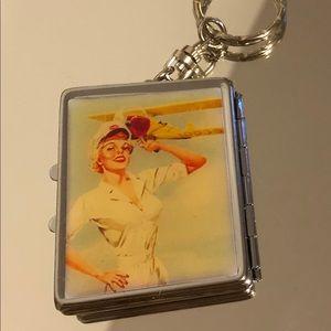 USO military compact mirror keychain